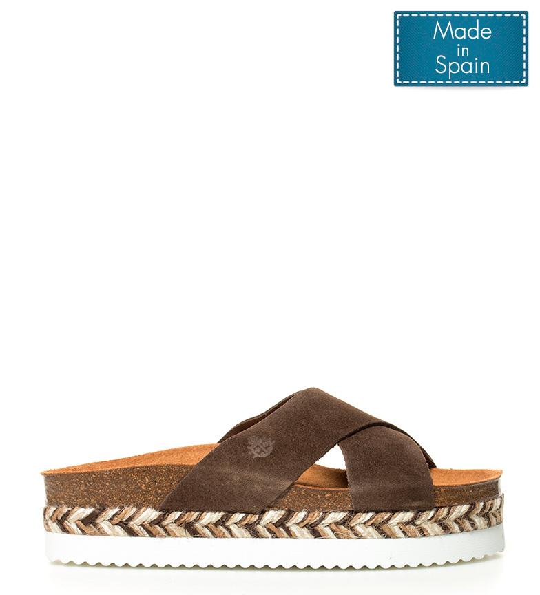 Yokono - Sandalias de piel Itaca marrón-Altura plataforma: 4,5cm-