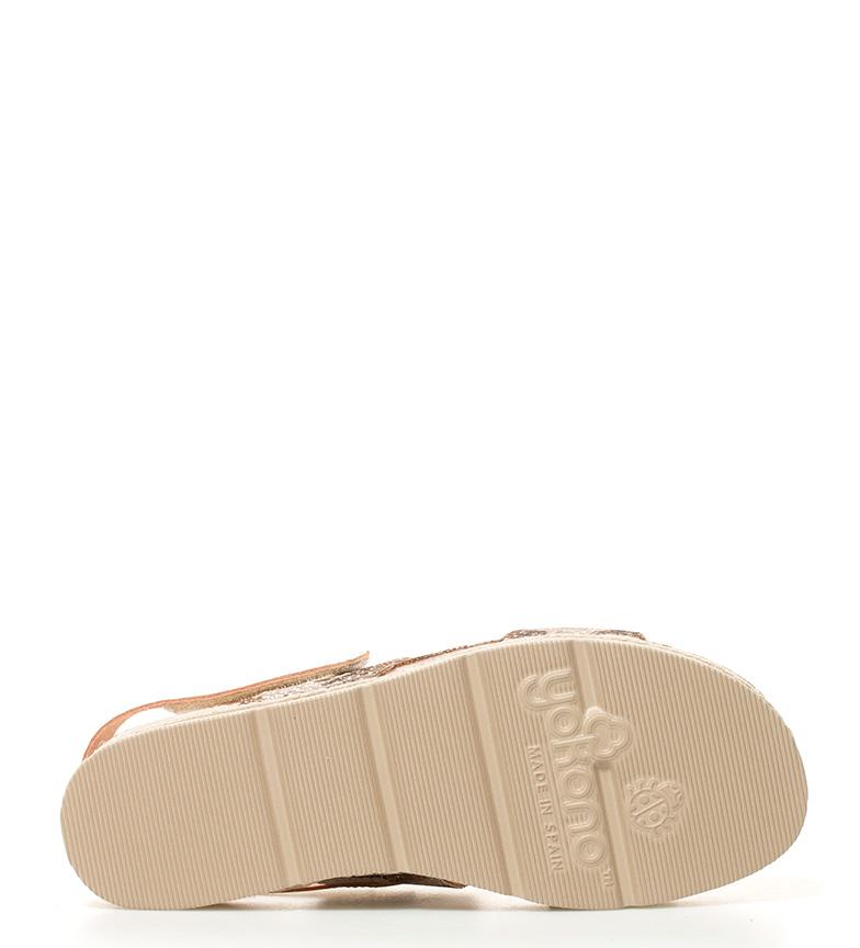 Sandalias br Altura br plataforma piel Java 3cm marrón de Yokono camuflaje axn1n