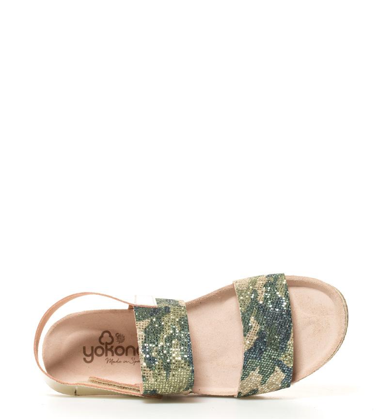 3cm verde Sandalias br Yokono Java br de Altura camuflaje piel plataforma 4I46fvwq