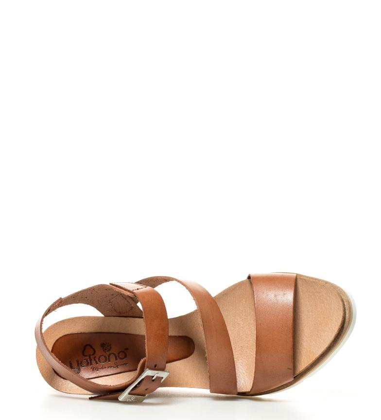 10 Sandalias br marrón Simi piel br cuña 5cm Yokono Altura de BzwdXfq