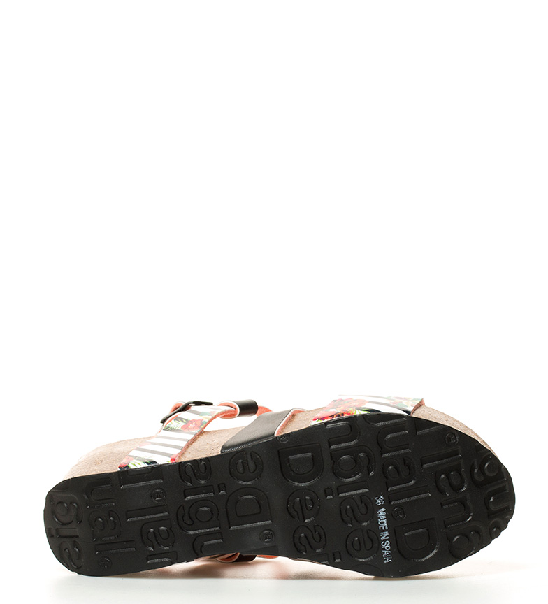 negro cuña Flores Bio9 Desigual amp; Rayas Sandalias blanco 6cm Altura xw8x6YqO