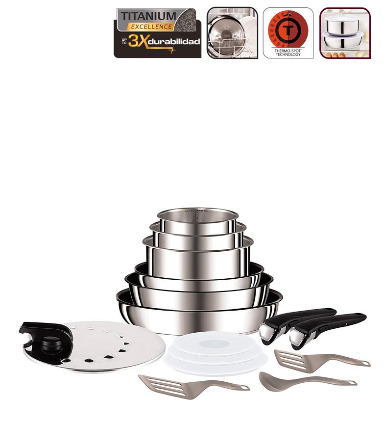 Comprar Tefal Série Préférences d'induction Ingenio 15 parties Compatible avec tous les types de cuisines Sart.22 / 26cm + Caz.16 / 18 / 20cm + 24cm Guis 3tapas + + + 1tapa inox Espat 1cuchara + 2. + 2 manguiers