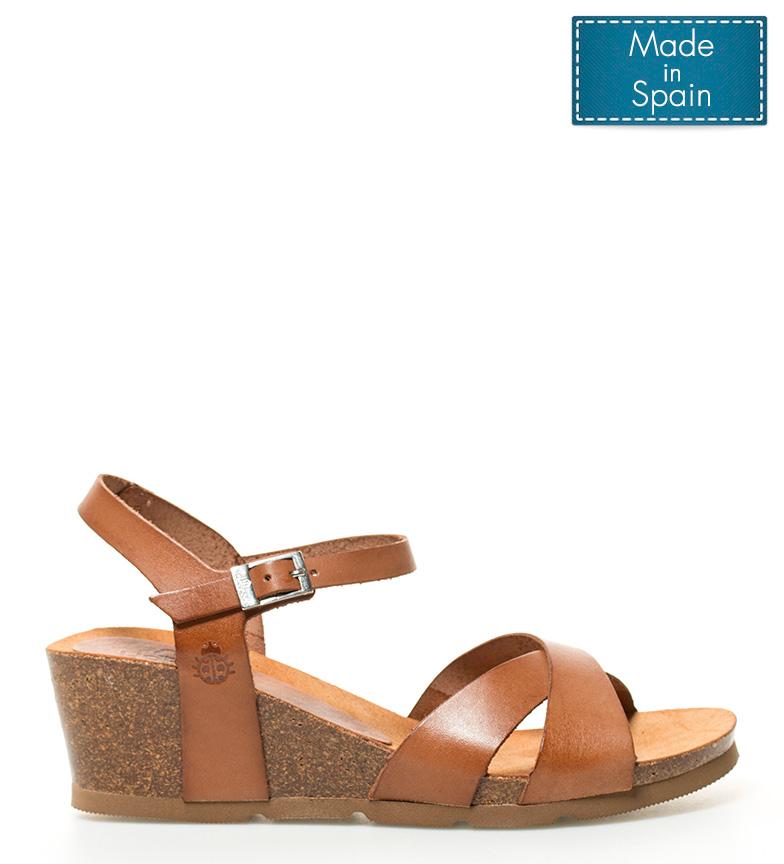 Comprar Yokono Leather sandals Cadiz 072 brown-Wedge height: 6cm-