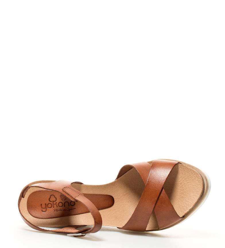 cuña 5cm 001 10 marrón Yokono Simi piel Altura br br Sandalias de pnaqUwFA