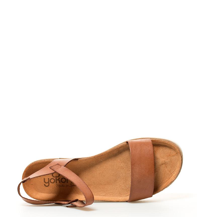piel marrón Tupai Sandalias br Altura 001 suela br 3cm Yokono de w4E6q4U