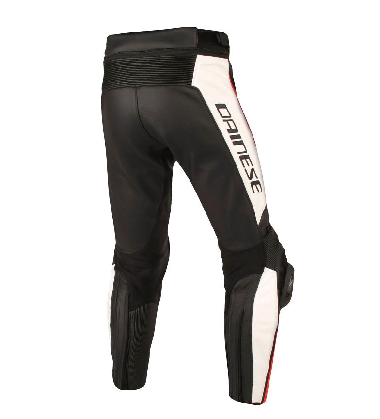 Dainese-Pantalones-de-piel-Misano-negro-rojo-Hombre-chico-Motociclismo miniatura 3