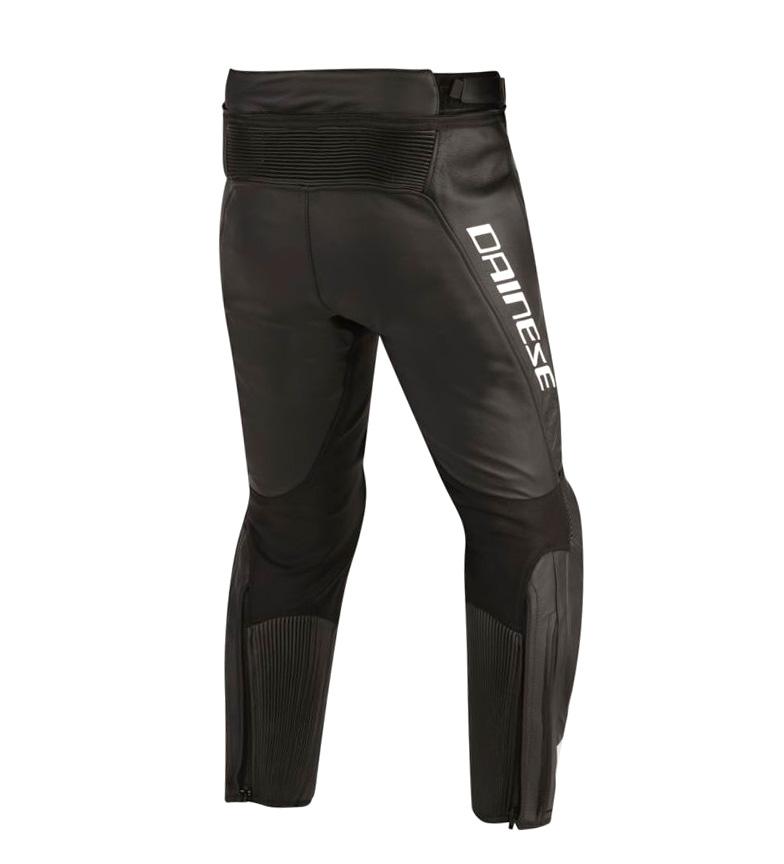 Dainese-Pantalones-de-piel-Misano-negro-rojo-Hombre-chico-Motociclismo miniatura 5