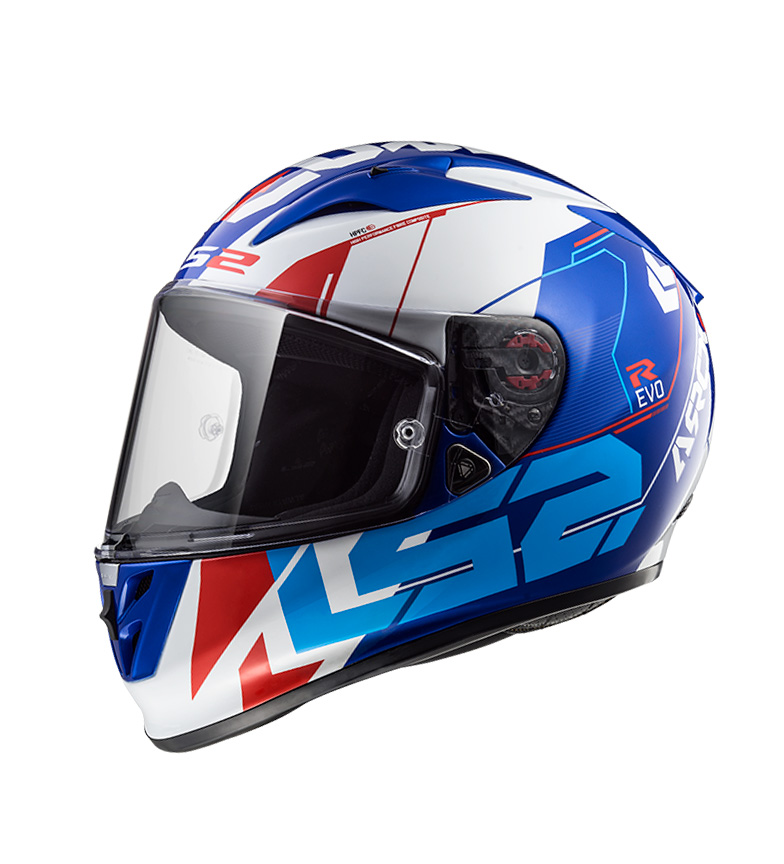 Comprar LS2 Helmets Casco integral Arrow R Evo FF323 Techno White Blue Pinlock Max Vision incluido