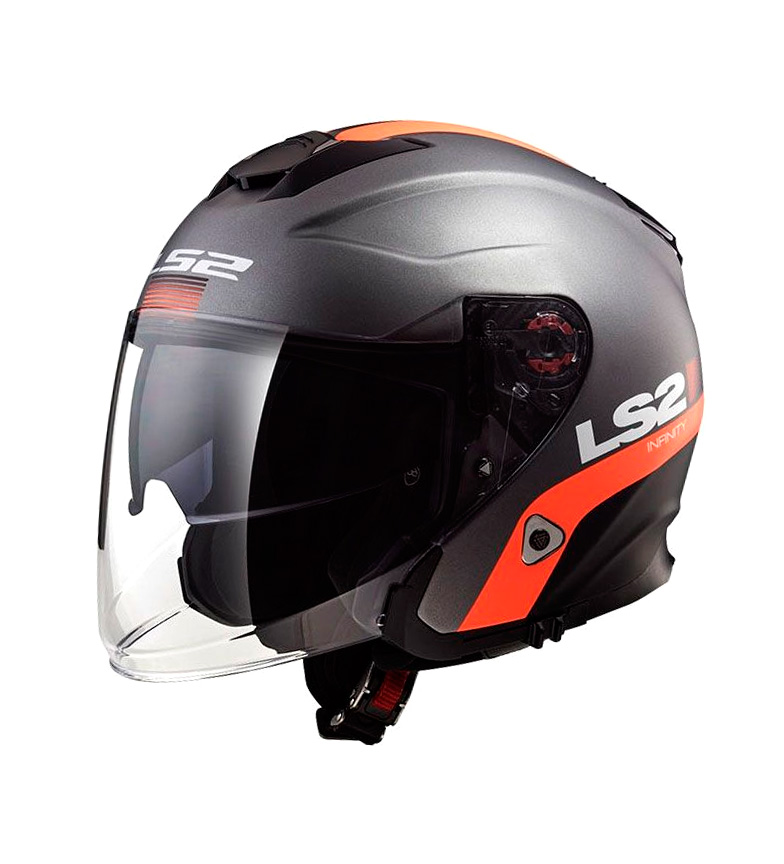 Comprar LS2 Helmets Capacete Jet Infinity OF521 Inteligente Matt Titanium Laranja
