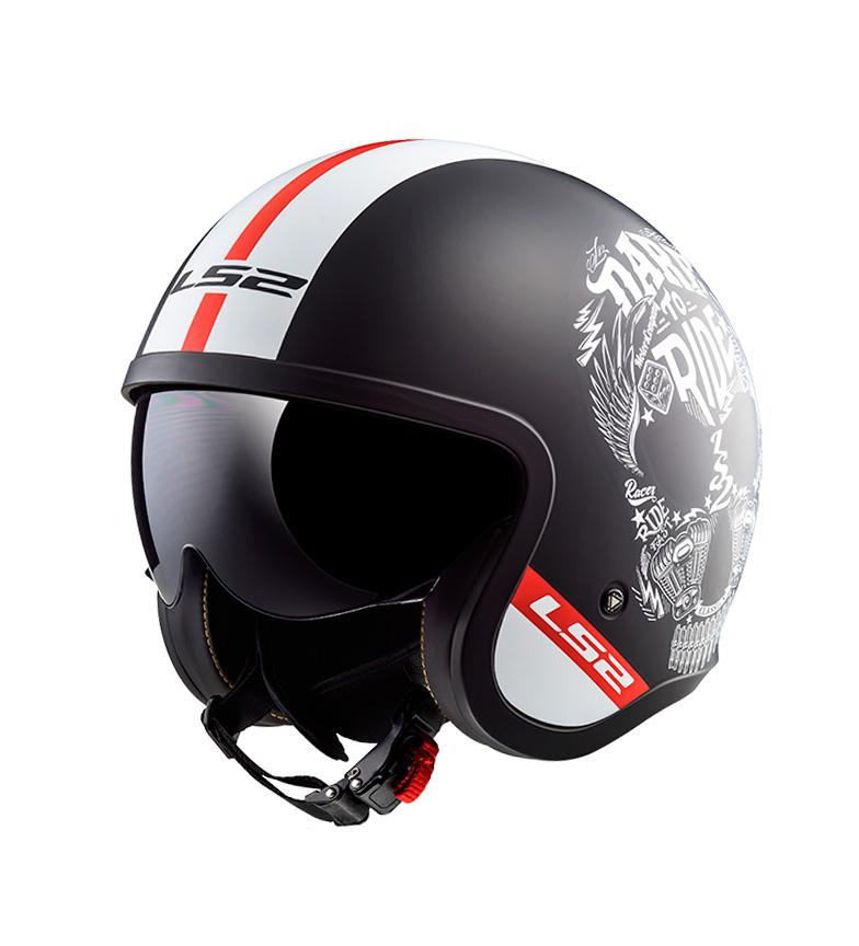 Comprar LS2 Helmets Capacete Jet Spitfire OF599 Inky Preto Mate Branco