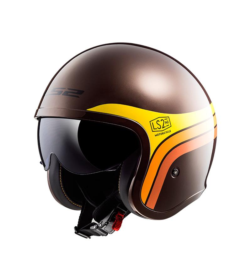 Comprar LS2 Helmets Capacete Jato Spitfire OF599 Sunrise Marrom Laranja Amarelo