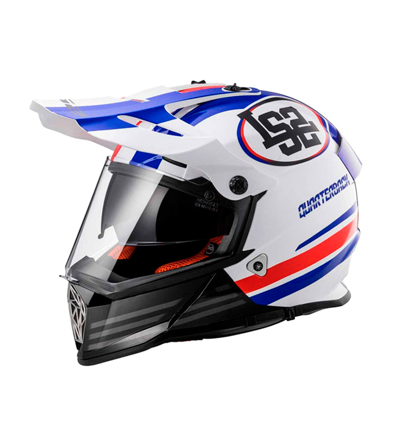 Compar LS2 Helmets Casco Motocross Pioneer MX436 Quarterback White Red Blue