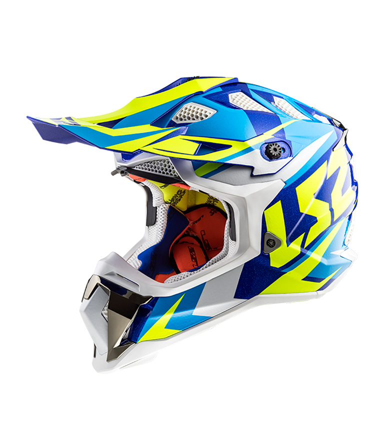 Comprar LS2 Helmets Motocross Casque Subverter MX470 Nimble Blanc Bleu HV Jaune