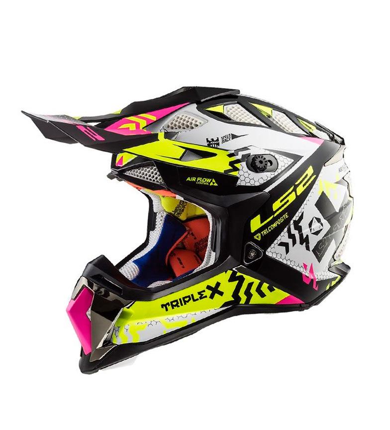 Comprar LS2 Helmets Capacete Motocross Subversor MX470 Triplex Preto HV Amarelo Rosa