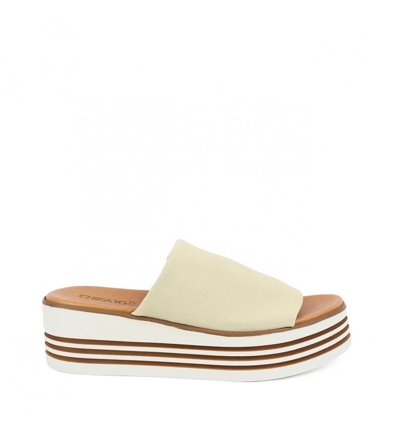 Comprar Chika10 Sandalias de piel Firenze 01 beig -Altura cuña: 5,5cm-