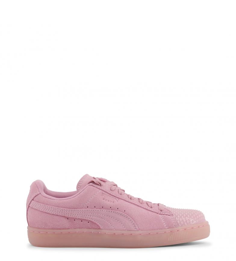 Puma-Zapatillas-de-piel-Suede-Jelly-Mujer-chica-Plano-Cordones-Casual-Rosa miniatura 3