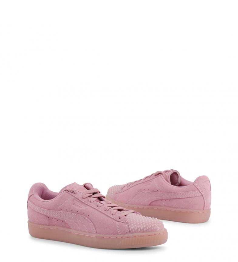 Puma-Zapatillas-de-piel-Suede-Jelly-Mujer-chica-Plano-Cordones-Casual-Rosa miniatura 4
