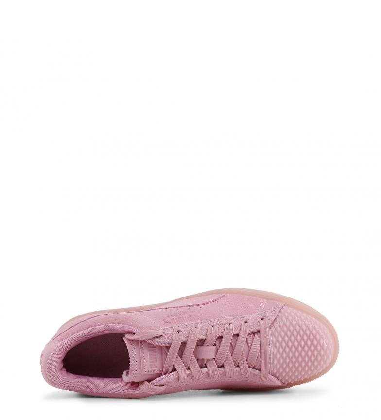 Puma-Zapatillas-de-piel-365859-Mujer-chica-Plano-Cordones-Casual-Rosa-Gris