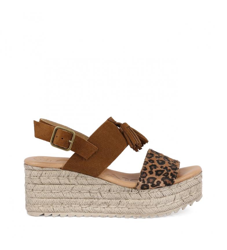Comprar Chika10 Sandalias de piel Egipto 08 leopardo -Altura  de la cuña: 7cm-