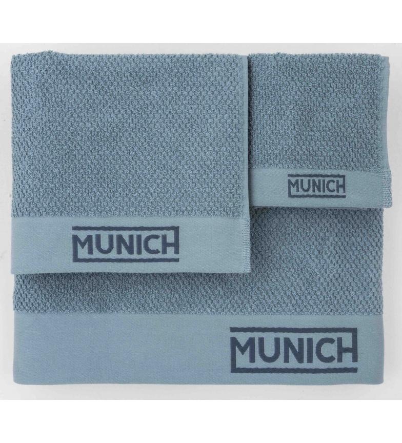 Comprar Munich Juego de toallas azul -30x50/50x90/70x140cm-