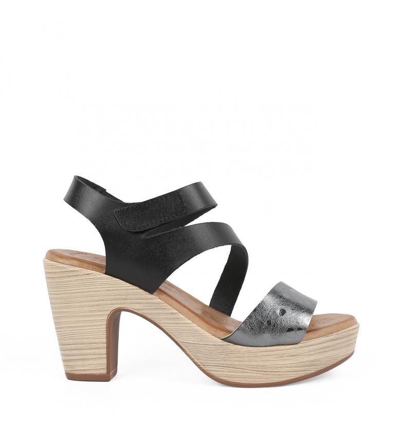 Comprar Chika10 Sandalias de piel Softy 02 negro -Altura del tacón: 9 cm-