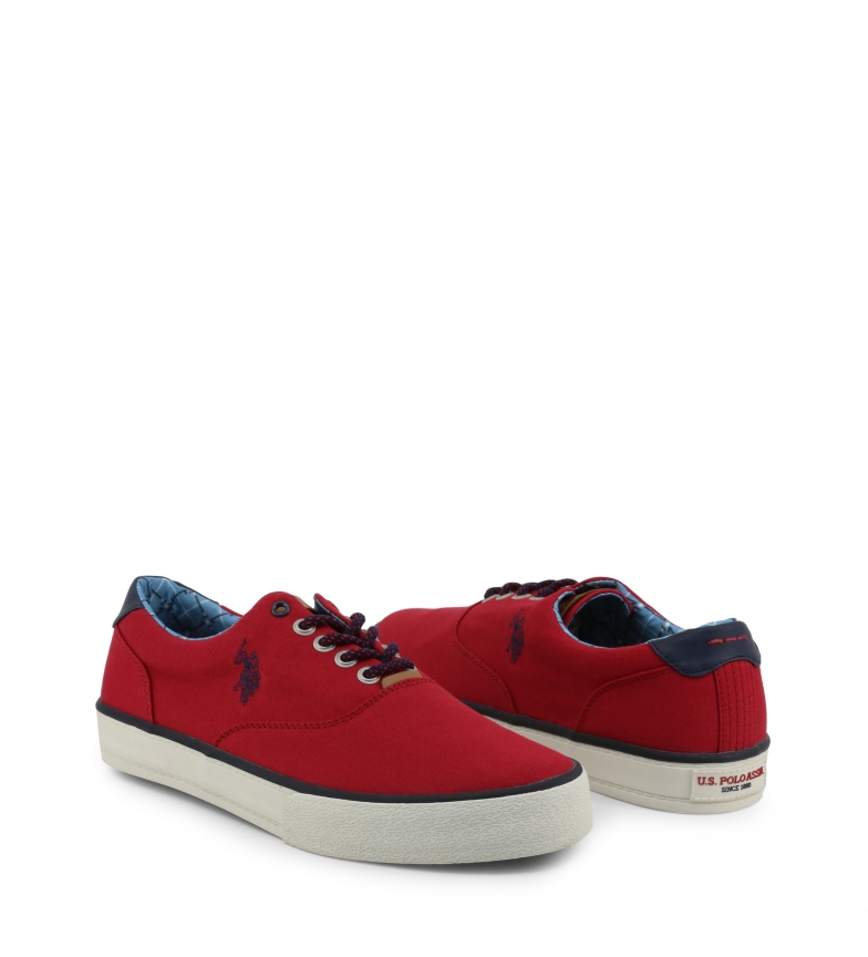 c1 Hombre Sneakers Gris s U Galan4019s9 Red Polo Tela chico Plano Rojo xwgqxIYZ