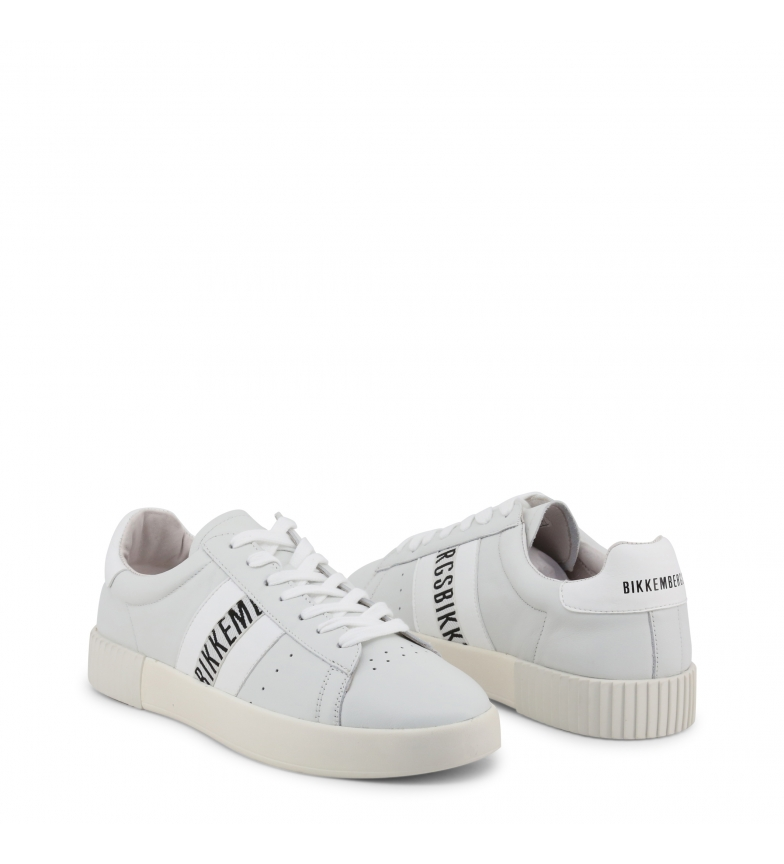 Dettagli su Bikkembergs COSMOS_2434 sneakers in pelle bianca Uomo Bianco Basso Stringhe