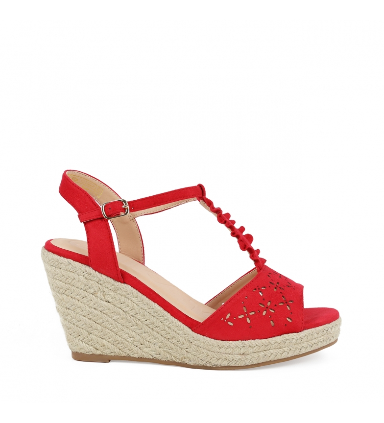 Comprar Chika10 Sandali Nadia 10 rosso - Altezza cuneo: 8cm-