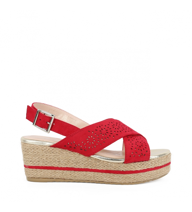 Comprar Chika10 Sandalias Dona 07 rojo -Altura cuña: 7cm-