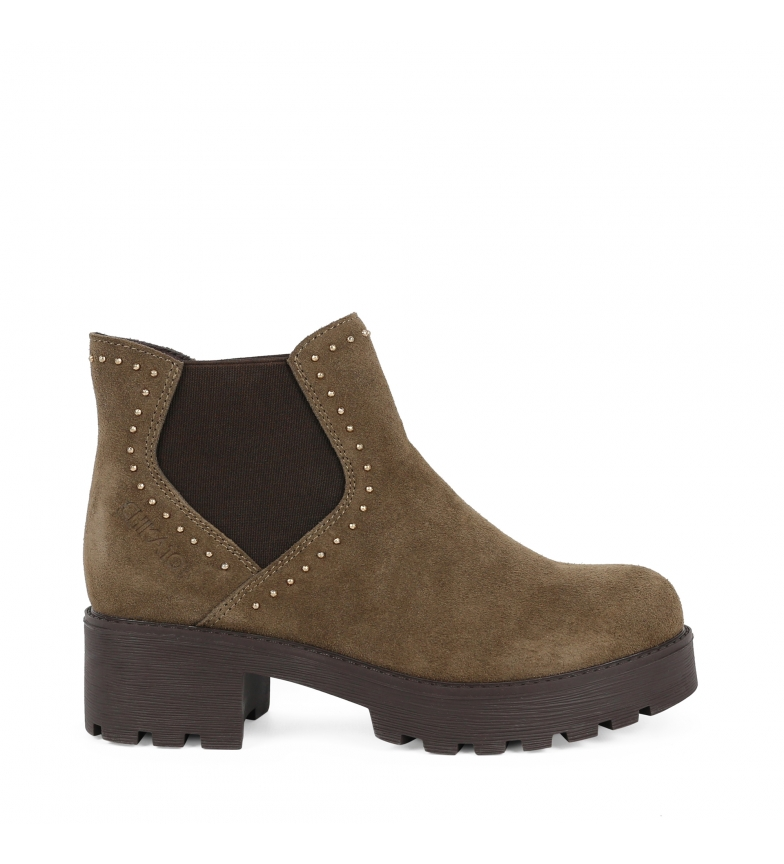Comprar Chika10 Leather boot Leonor 05 taupe -Heel height: 3cm
