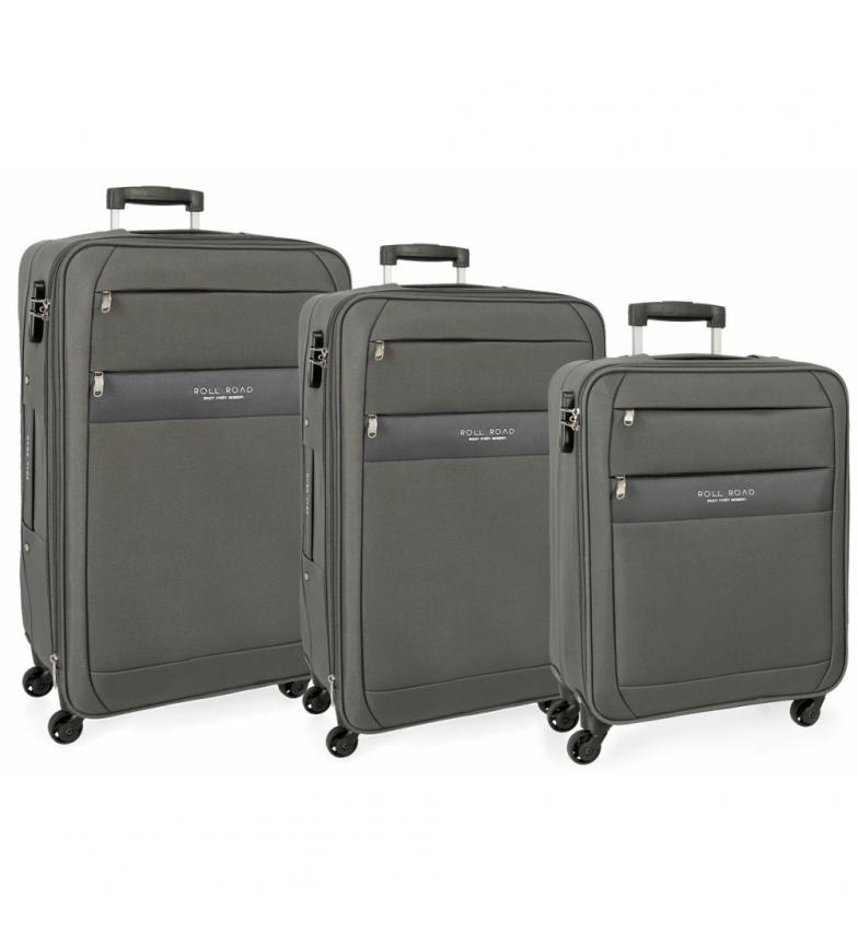 Comprar Roll Road Grey Abey Roll Roll Conjunto de bagagem Road -40x55x20cm/43x68x68x26cm/48x78x29cm