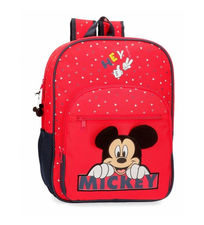 Comprar Mickey Feliz mochila Mickey mochila adaptável ao carrinho vermelho -30x38x12cm