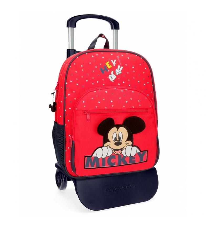 Comprar Mickey Mochila Mickey Feliz 38cm com carrinho vermelho -30x38x12cm