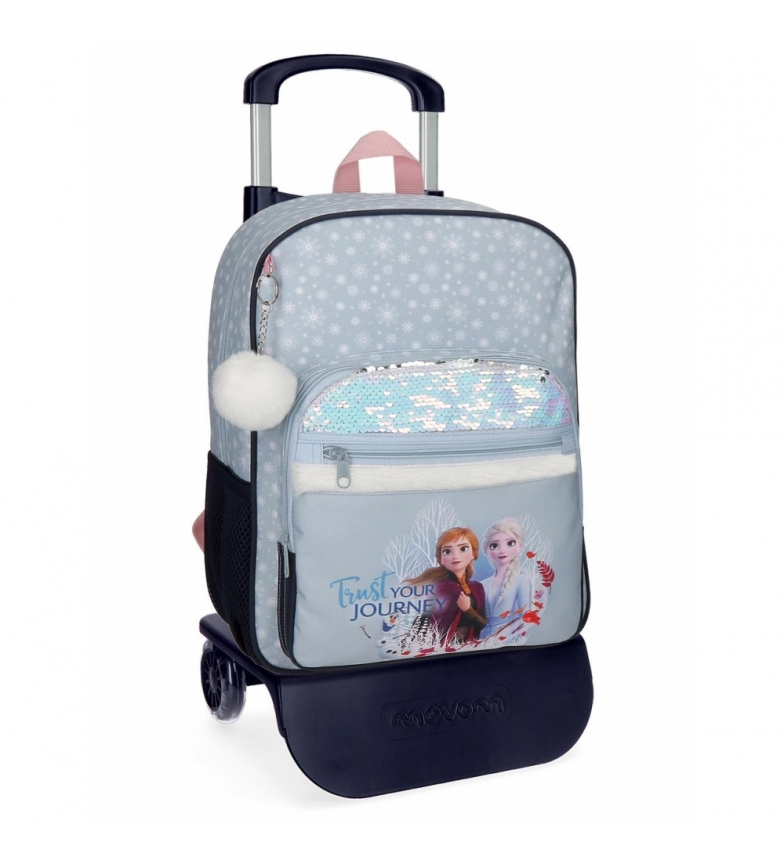 Comprar Frozen Backpack Trust your journey school 38cm with blue trolley -30x38x12cm