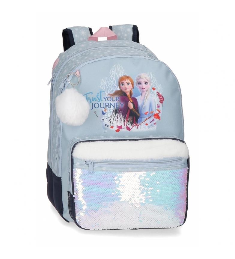 Comprar Frozen Mochila escolar Confie na sua viagem 42cm adaptável ao carrinho azul -32x42x15x15cm