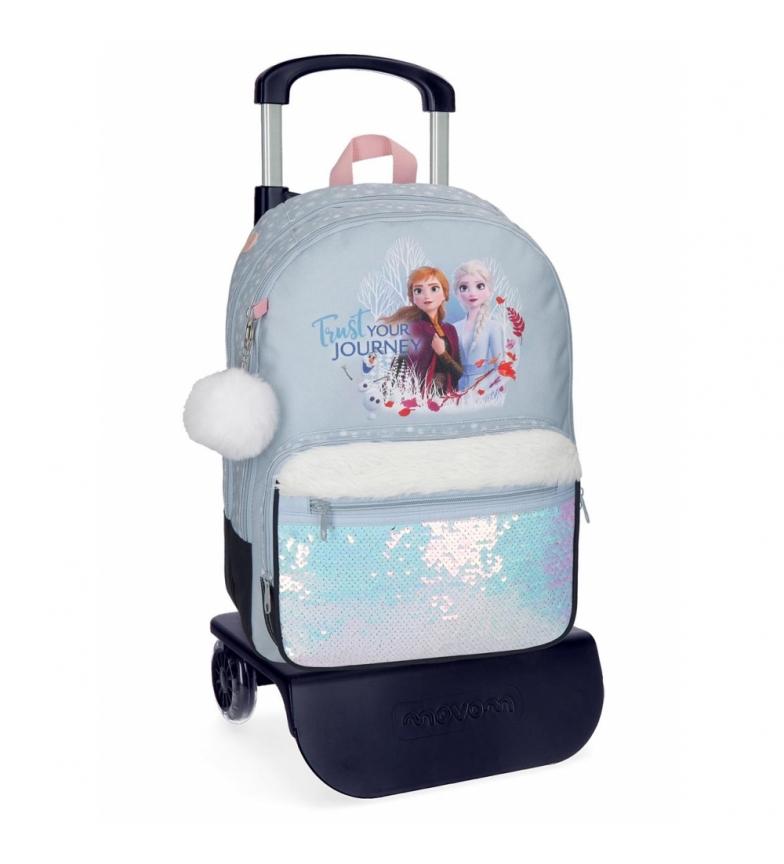 Comprar Frozen Mochila Escolar Trust your journey 42cm con carro azul -34x42x15cm-