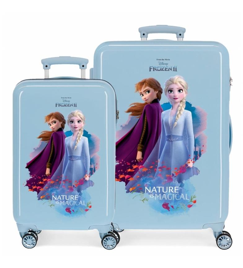 Comprar Frozen Nature is magical rigid suitcase set 32L/61L blue -34x55x20cm/46x65x25cm