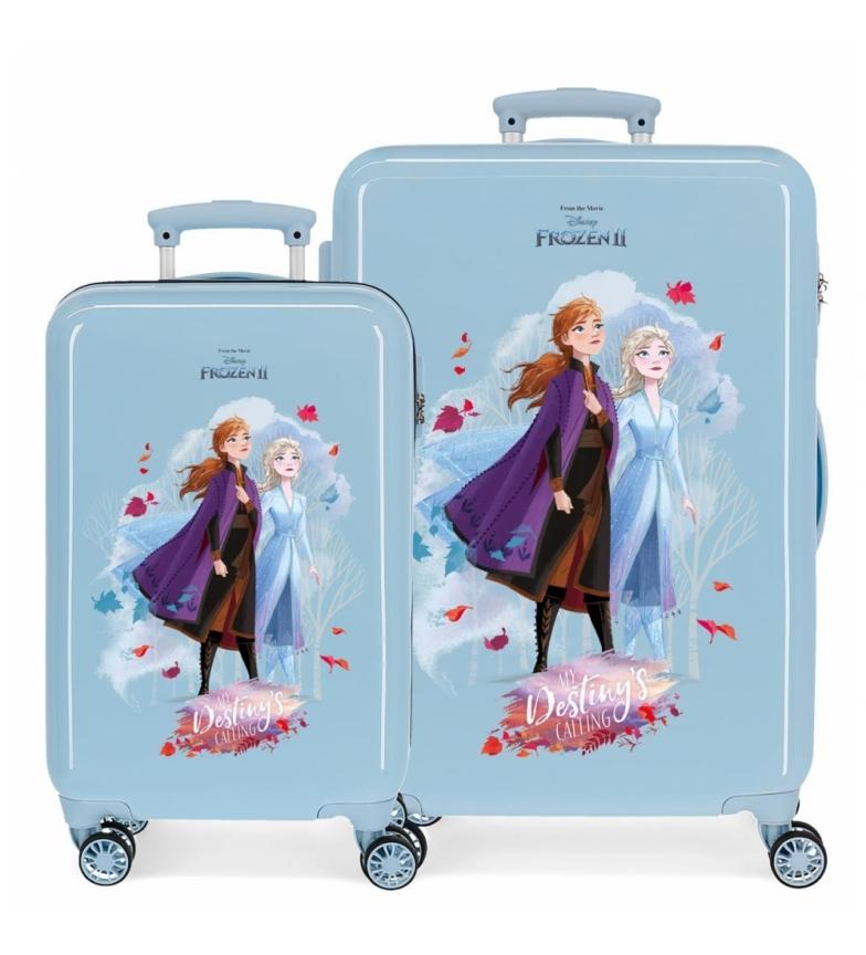 Comprar Frozen Juego de Maletas Destiny is calling rígidas  32L/61L azul  -34x55x20cm/46x65x25cm-
