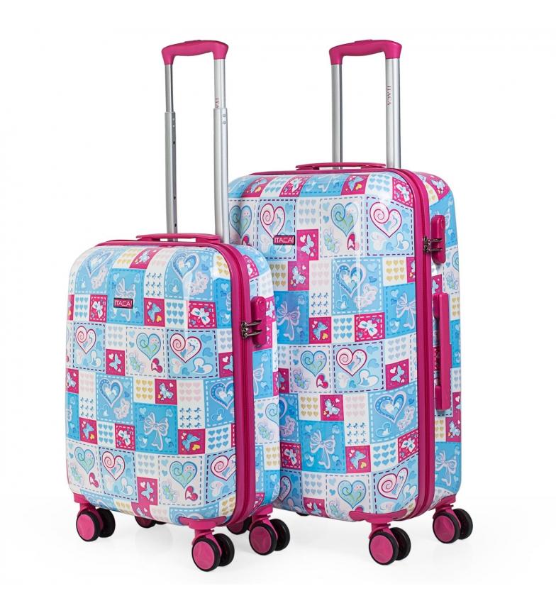 Comprar ITACA Set di valigie per bambini Stampa blu, fucsia -55x40x20 / 65x44x25 cm