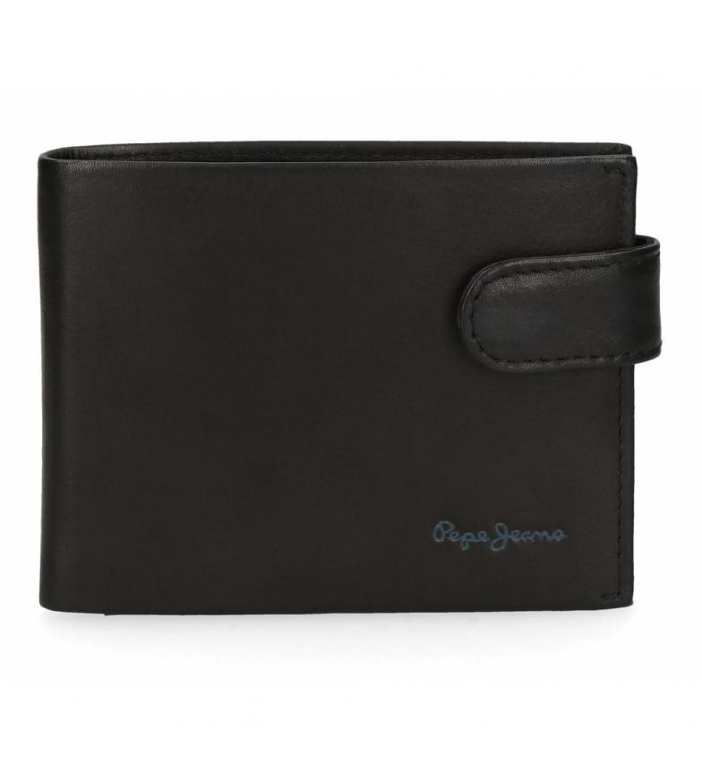 Comprar Pepe Jeans Portefeuille en cuir Pepe Jeans Fair horizontal avec fermeture à clic noir -11x8.5x1cm