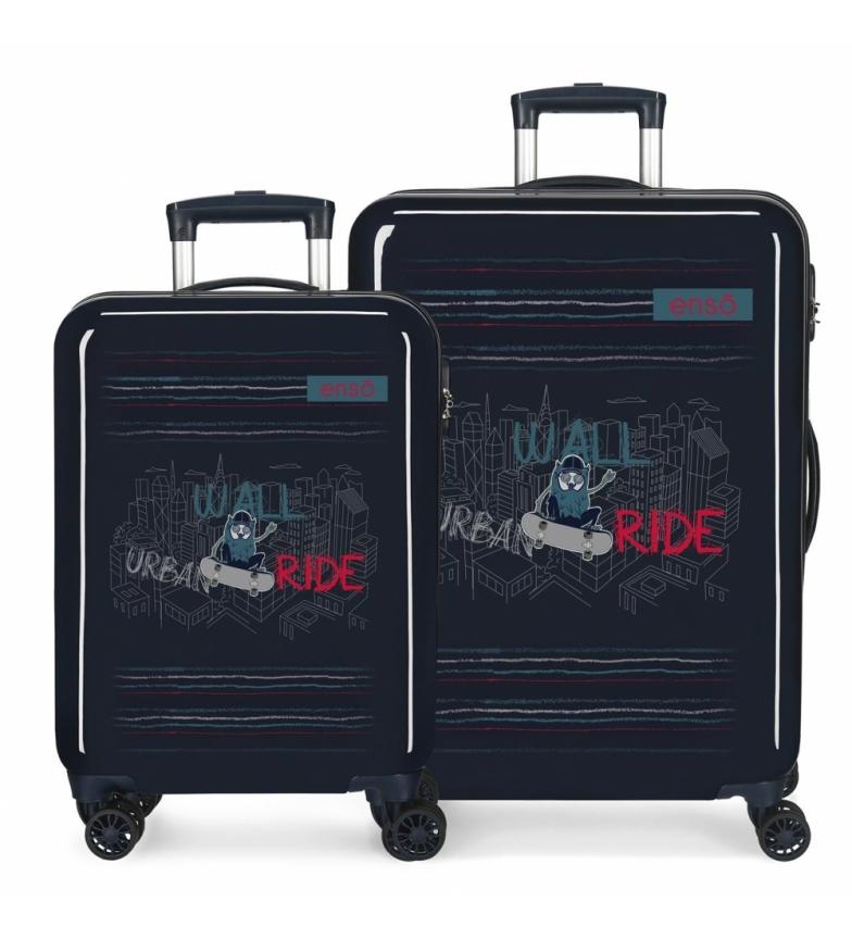 Comprar Enso Set di valigie da parete Enso blu -38x55x20/48x68x26cm