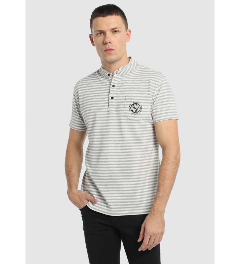 Comprar Six Valves Camisa Polo Pique Stripes cinza