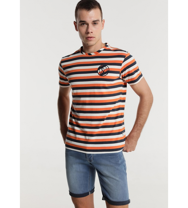 Comprar Six Valves Orange, navy woven multistripes T-shirt