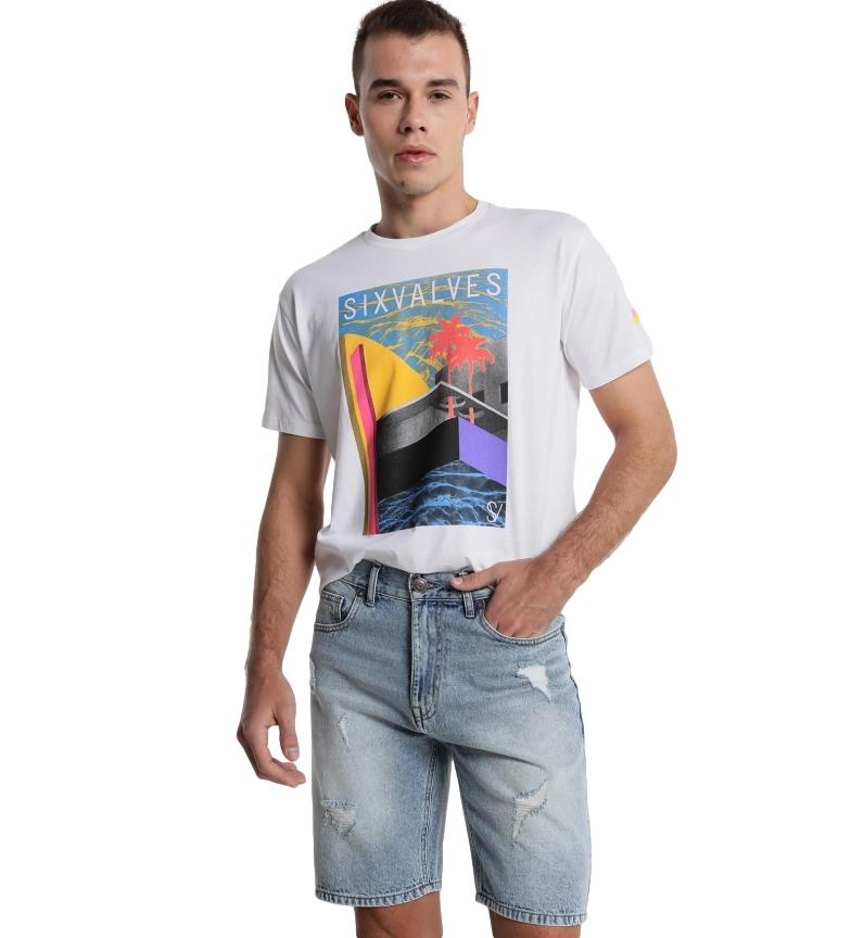 Comprar Six Valves Relaxed Fit denim Bermuda shorts blue rips