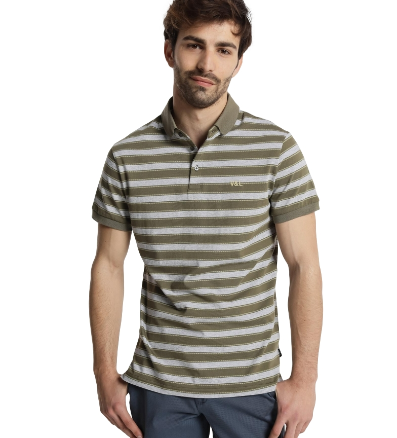 Victorio & Lucchino, V&L Striped polo shirt M/C green