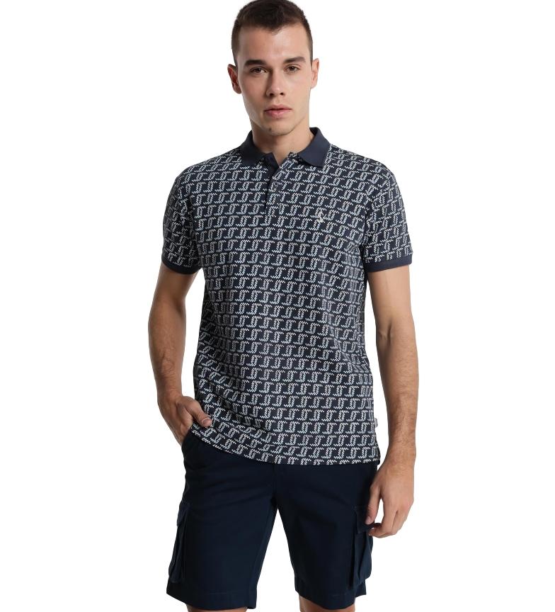 Comprar Six Valves Navy print pique polo shirt