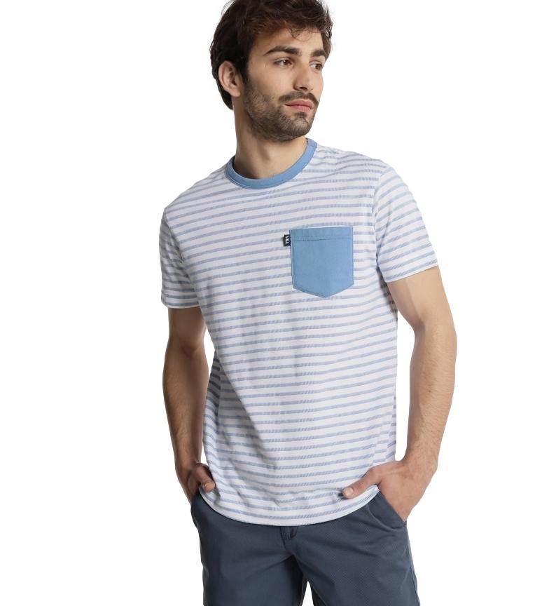 Comprar Victorio & Lucchino, V&L Camiseta Rayas con Bolsillo azul