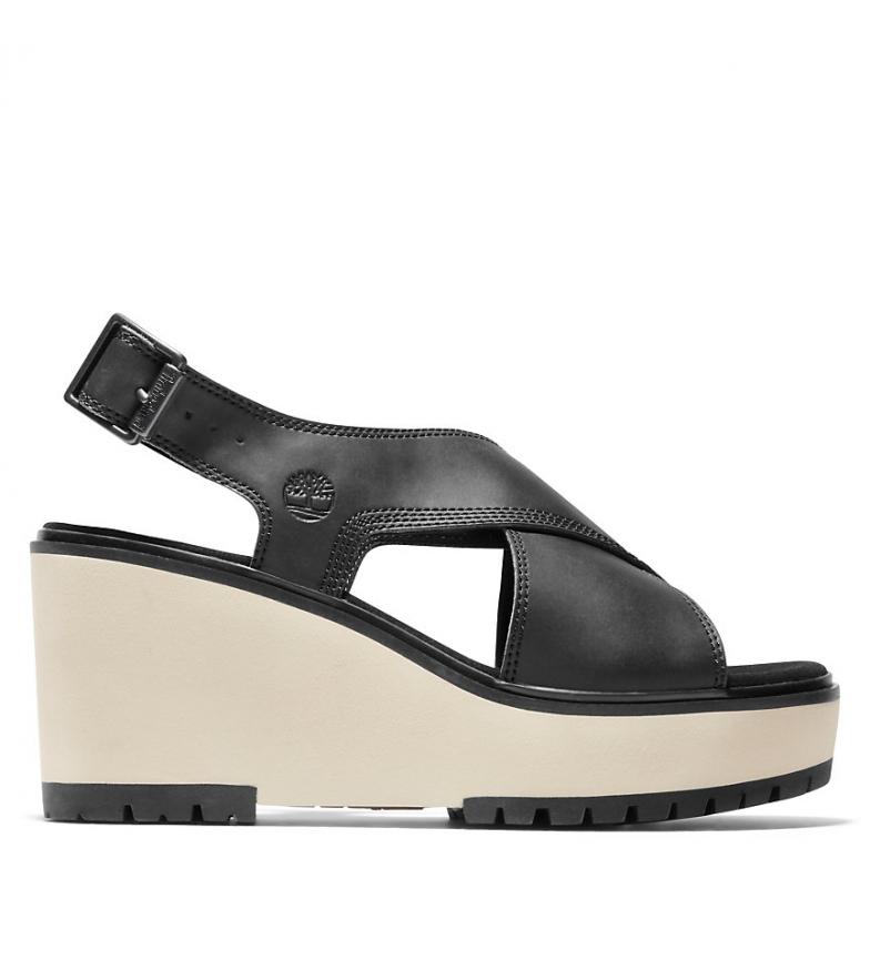 Comprar Timberland Koralyn Cross Band Wedge leather sandals black - quad height: 8cm