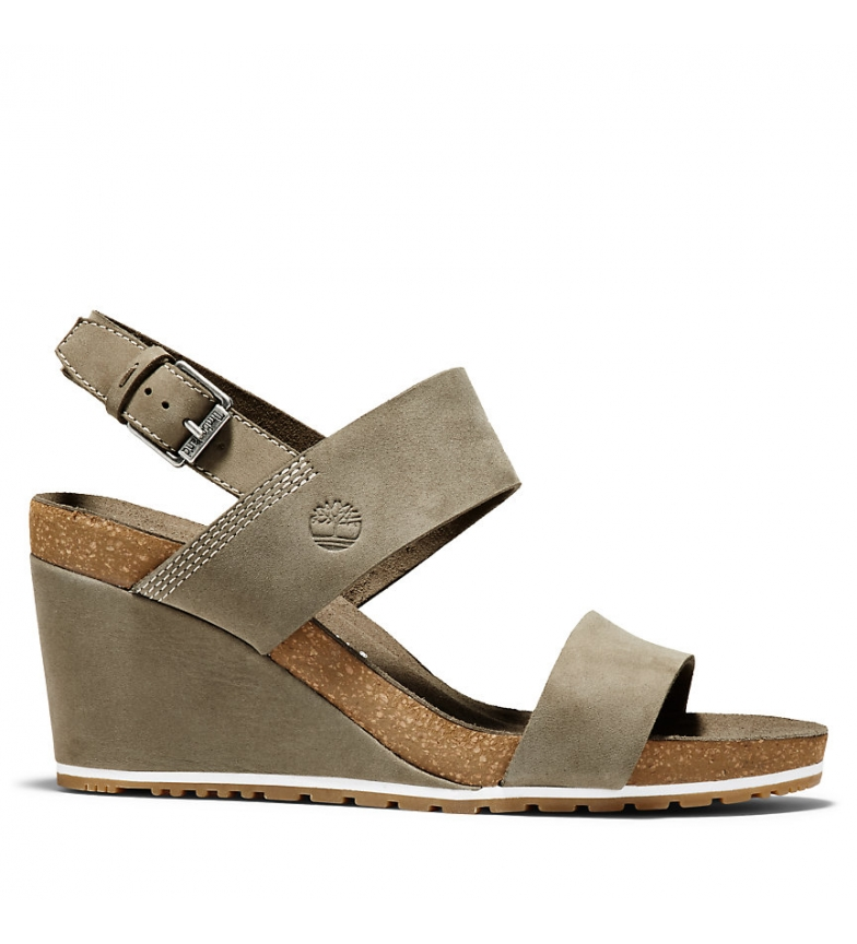 Comprar Timberland Capri Sunset Wedge taupe leather sandals -Wedge height: 8,5cm