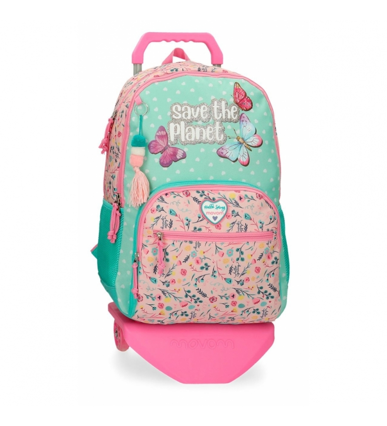 Comprar Movom Movom Save the Planet Two-Compartment School Backpack with Multicoloured Trolley -33x45x17cm